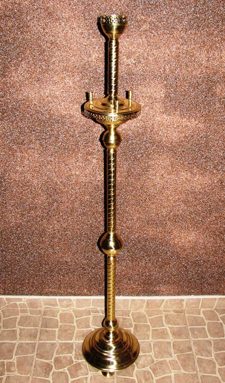 Подсвечник напольный на 3 свечи из латуни