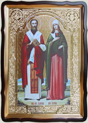 Икона Киприан и Устинья 80х60см (110х80см)