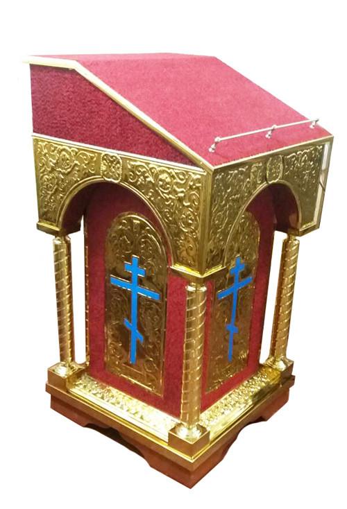 Аналой церковный центральный с тканью 60 на 60см