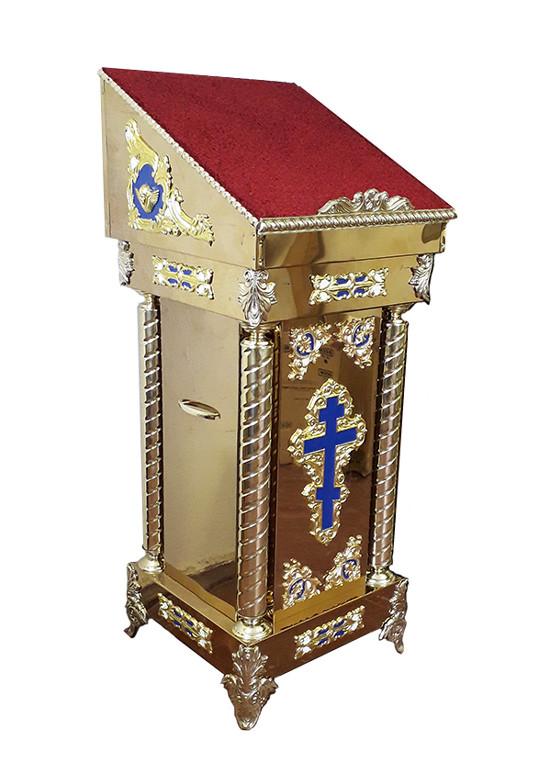 Аналой для храма боковой с крестом 50х50см