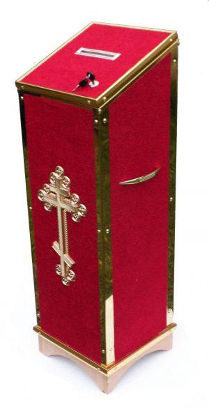 Ящик для пожертвований из дсп и ткани с замком