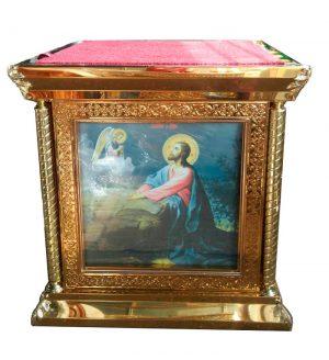 Облачение на престол с литографией за стеклом (чеканка на булате) 100 на 100см