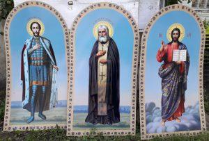 Арочные иконы на пластике пвх для фасада храма
