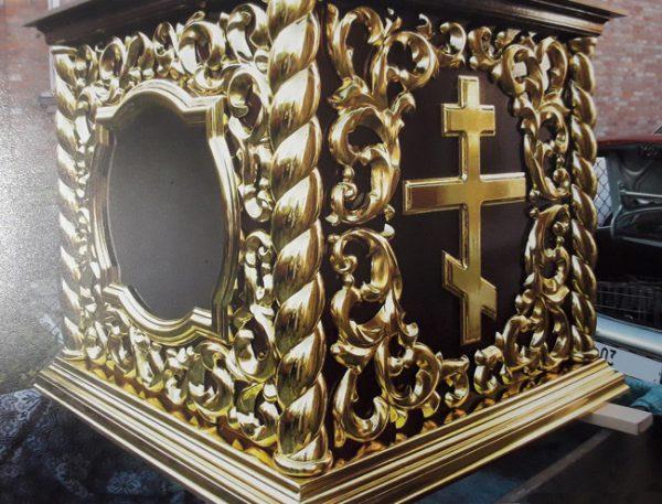 Облачение на престол с золочением 100х100см