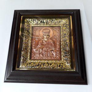 Святитель Николай Чудотворец икона с чеканкой 35х38см