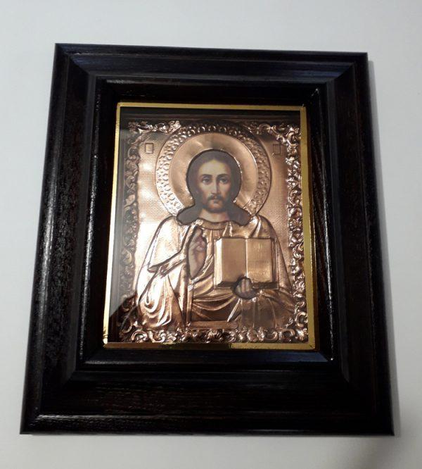 Икона Спасителя малая с чеканкой 35х38см
