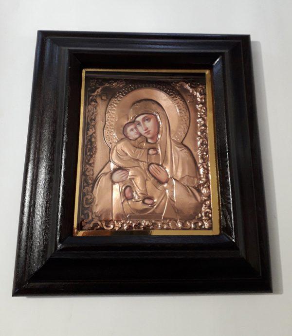 Владимирская икона Божией Матери с чеканкой 35х38см