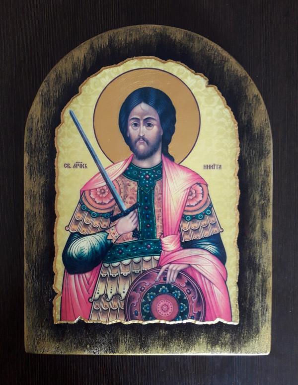 Ікона з росписом Святий Микита  23х11см