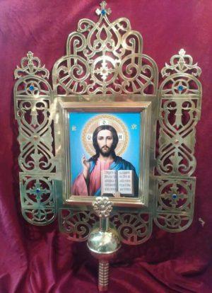 Запрестольная икона из латуни с литографией 52 на 65см