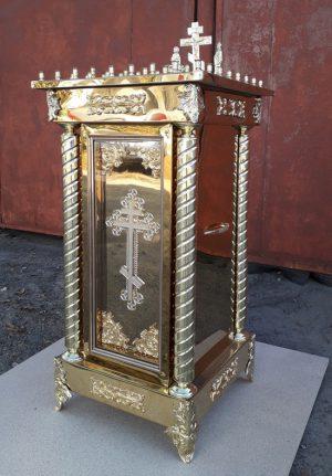 Панахидный столик на 50св. с декором за стеклом