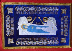 Плащаница Божией Матери с Ангелами (средняя) 120*80см