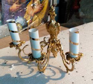 Малое церковное бра на три свечи из сплава латуни