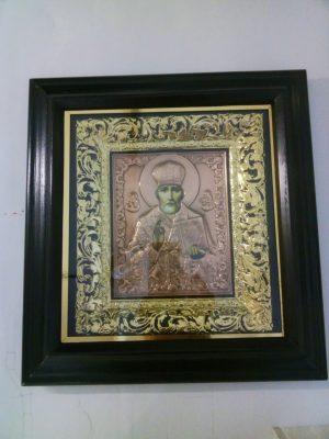 Подарочная икона Св. Николая с чеканкой 34х37см