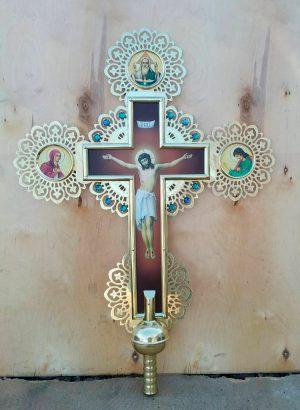 Большой крест с камнями (латунный) 70х90см