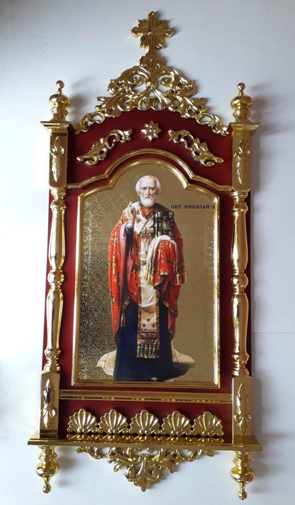 Настенный киот Св. Николай с позолотой (фольгирование)