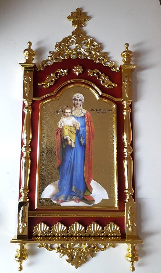 Резной настенный киот Пресвятой Богородицы 1.4м
