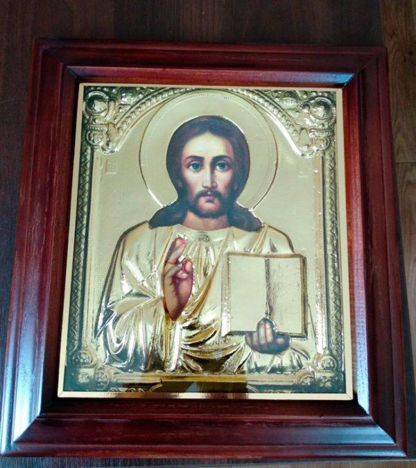 Икона Спасителя в ризе с позолотой 34х37см