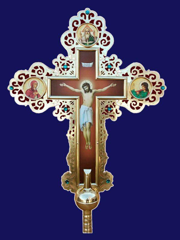 Крест православный с камнями из латуни