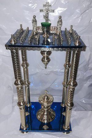 Стол панихидный на булате с колоннами на 58 свечей