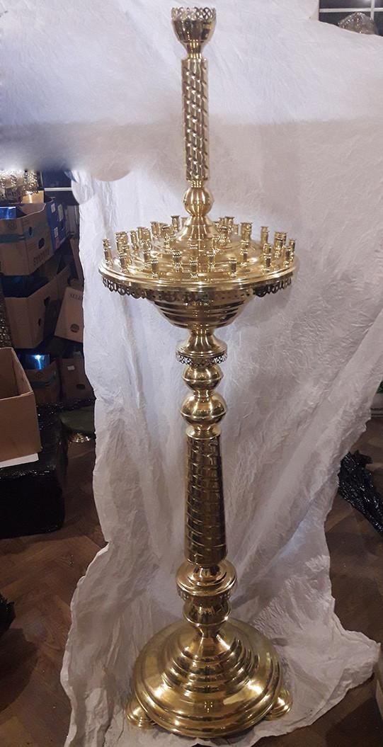 Подсвечник напольный на 52 свечи латунный