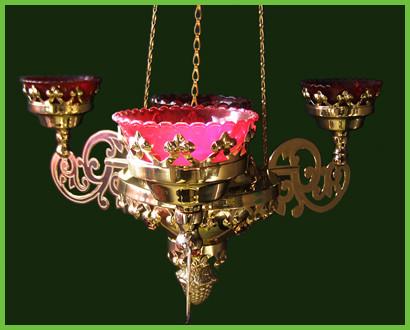 Четырёхлампадник подвесной латунный с гравировкой