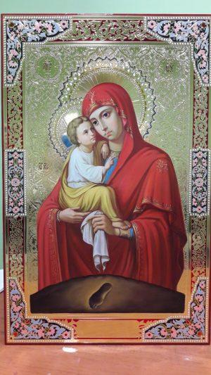 Рукописная икона Пр. Богородицы на заказ с чеканкой по позолоте