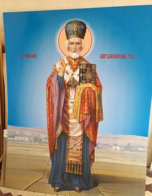 Икона Святого Николая печать на пластике ПВХ