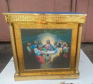 Облачение престола с чеканкой - иконы без стекла 100х100см