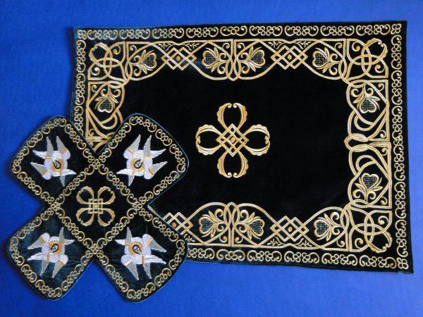 Покровцы с воздухом комплект для батюшки (черные)
