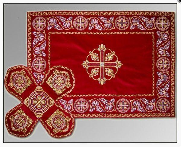 Покровцы с воздухом комплект церковный (темно красный)