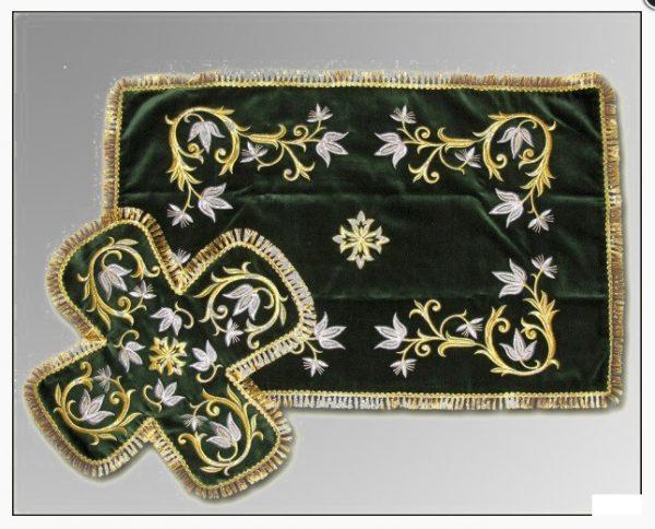 Покровцы с воздухом комплект церковный (зеленый цвет)