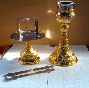 Набор Евхаристический церковный с позолотой на 0.5 литра