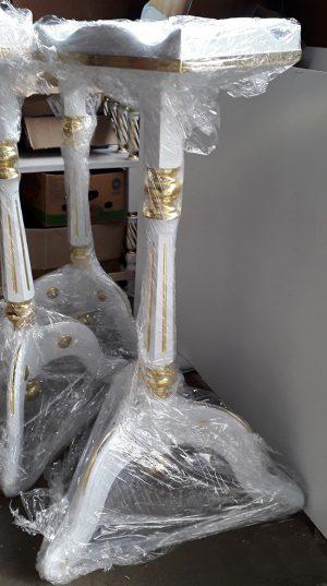 Подставки под цветы на триножке из дерева с позолотой элементов (спецзаказ)