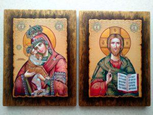 Вінчальна пара ікони на дерев'яній основі 18х24cm