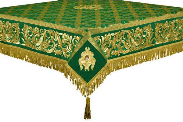 Скатерть вышитая на престол или жертвенник зелёное с золотом