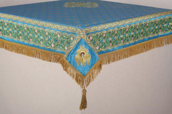 Скатерть вышитая на престол или жертвенник (цвет морской волны с золотом)