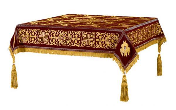 Скатерть вышитая на престол или жертвенник (коричневая с золотом)
