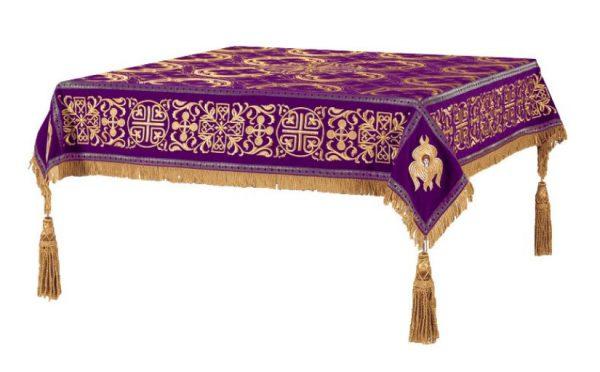 Скатерть вышитая на престол или жертвенник (фиолет с золотом)