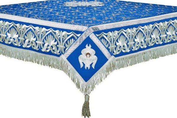 Скатерть на престол или жертвенник (синее с серебром)