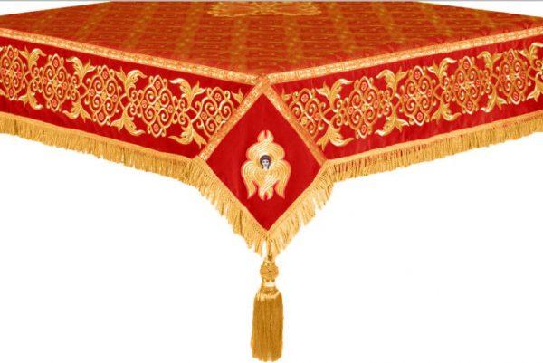 Скатерть на престол или жертвенник вышивка (красное с золотом)