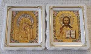 Венчальная пара икон Пресвятая Богородица и Спаситель 21х24см