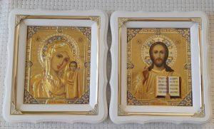 Венчальная пара иконы Пресвятая Богородица и Спаситель 21х24см