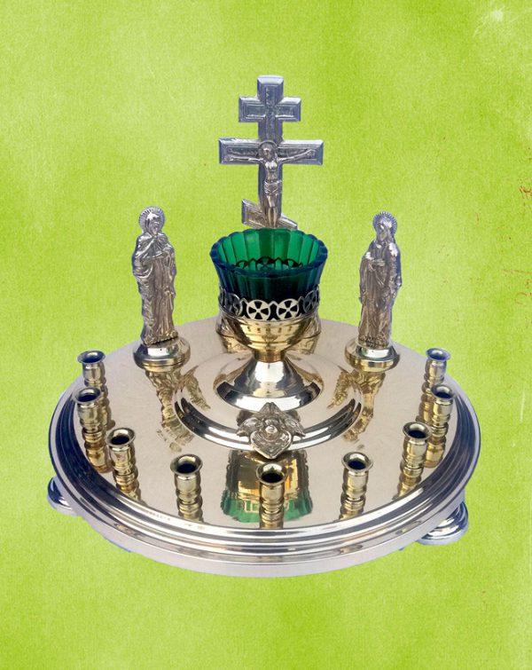 Крышка канун панихидная круглая на 9 свечей с литьем