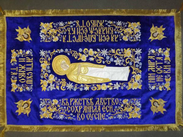 Плащаница Божией Матери машинная вышивка (средняя)