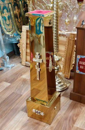 Подставка под икону или крест запрестольный с металлизацией
