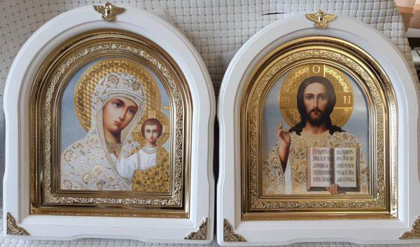 Пара венчальная - иконы арочные белые 26*29см