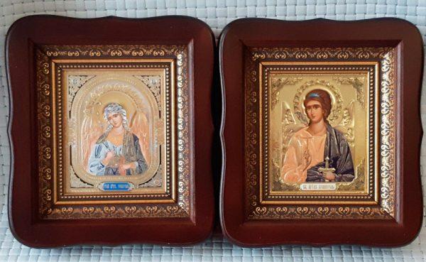Иконы Ангелей Хранителей в темных киотах 23х26см