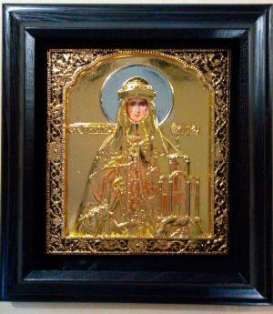 Святая Ольга икона в ризе с золочением 34х37см