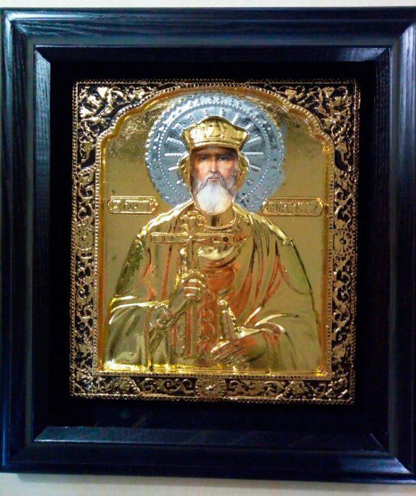 Святой Владимир икона риза с золочением 34х37см