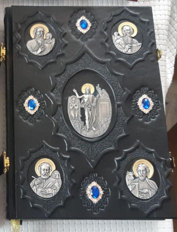 Евангелие в кожаном переплете (язык на выбор) 23x33cm